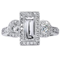 1.12 Carat GIA Cert Emerald Cut and Round Diamond Platinum Three Stone Ring