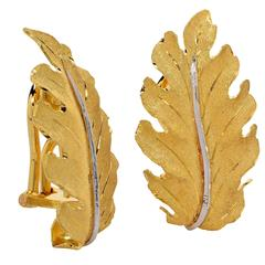 Buccellati Gold Leaf Motif Earrings