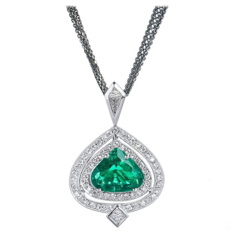 GIA Cert Colombian Emerald Diamond Gold Pendant