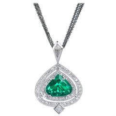 GIA Cert Colombian Emerald Diamond Gold Pendant