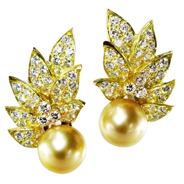 Golden South Sea Cultured Pearl Diamond Gold Ear Clips.