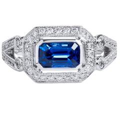 Vivid Blue Madagascar Sapphire Diamond Palladium Ring