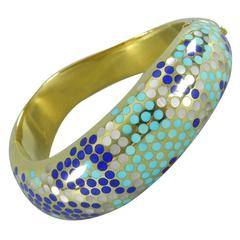 Angela Cummings Turquoise Lapis Mother of Pearl Gold Bangle Bracelet