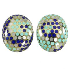 Angela Cummings Turquoise Lapis Mother of Pearl Gold Earrings