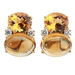Large GUM DROP™ Earrings with Faceted Citrine and Cabochon Citrine and Diamonds