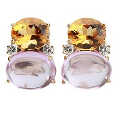 Large GUM DROP™ Earrings with Citrine and Cabochon Pink Topaz and Diamonds