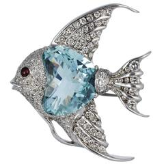 24 Carat Aquamarine Diamond Gold Angelfish Pin