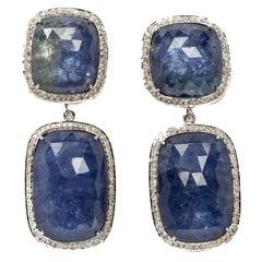 Tanzanite Diamond Gold Dangle Earrings