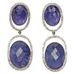 Tanzanite Diamond White Gold Dangle Earrings