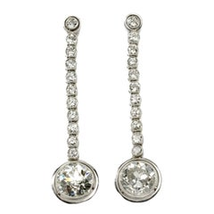1920s Diamond Platinum Dangle Earrings