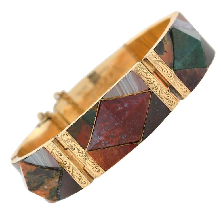 Victorian Scottish Agate Gold Link Bracelet For Sale