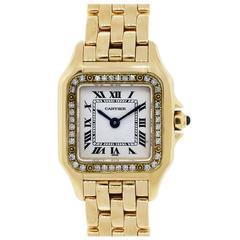 Cartier Yellow Gold Diamond Bezel White Dial Quartz Panther Wristwatch