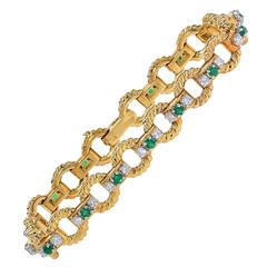 Emerald Diamond Gold Link Bracelet