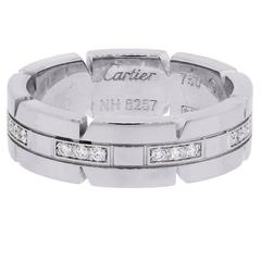 Cartier Diamond Gold Tank Francaise Wedding Band Ring