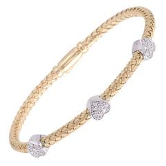 Silver Mesh Diamond Gold Vermeil Heart Bangle Bracelet