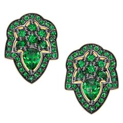 Ana de Costa Unique Handcrafted Tsavorite Gold Stud Earrings