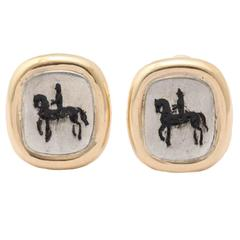 Silver Gold Horse and Rider Earrings