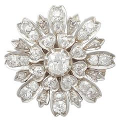 4.08Ct Diamond and 9k Yellow Gold, Silver Set Brooch - Antique Circa 1880