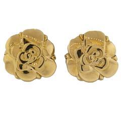 Chanel Gold Camellia Flower Earrings