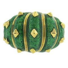 David Webb Large Green Enamel Gold Studded Dome Ring