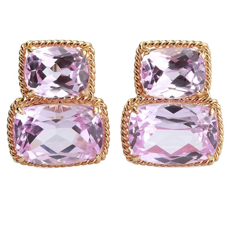 Elegant Pink Topaz Gold Rope Twist Border Two Stone Earrings  For Sale