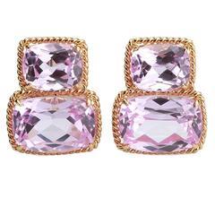 Elegant Pink Topaz Gold Rope Twist Border Two Stone Earrings