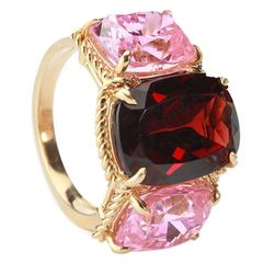 Elegant Three Stone Garnet Pink Topaz Ring with Gold Rope Twist Border