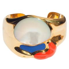 Tiffany & Co. Elsa Peretti Mother-of-Pearl Lapis Coral Gold Hinged Cuff Bracelet