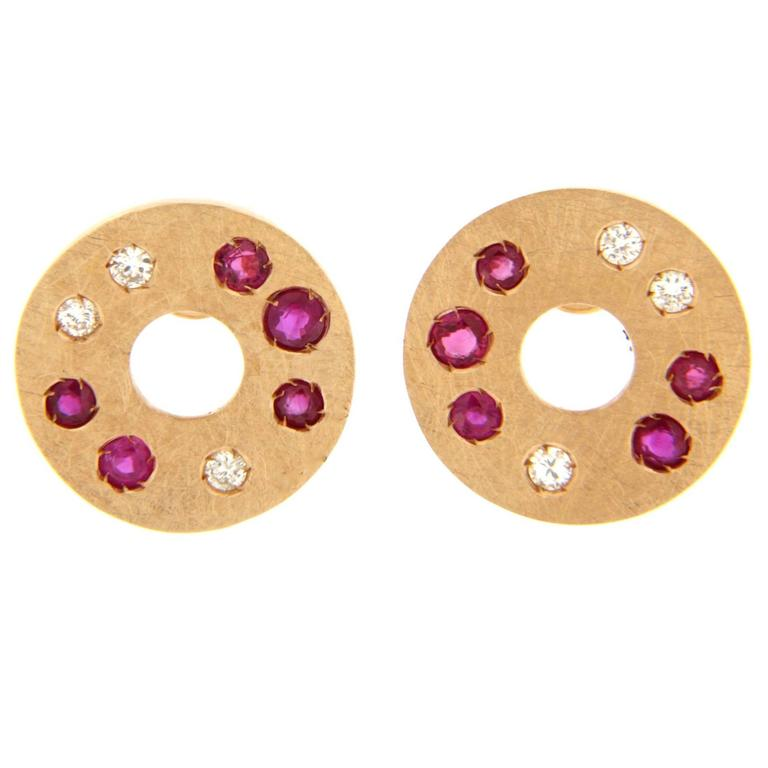 Jona Ruby Diamond 18 Karat Rose Gold Stud Earrings