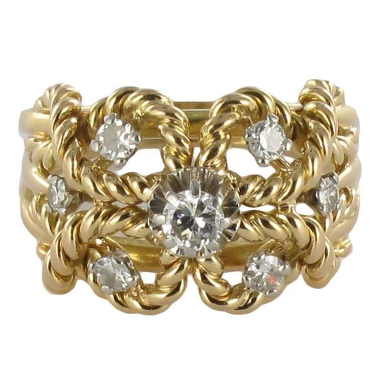 1960s Diamond Openwork 18 Karat Yellow Gold Cords Dome Ring
