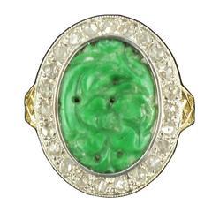 French Antique Jade Rose Cut Diamond Ring