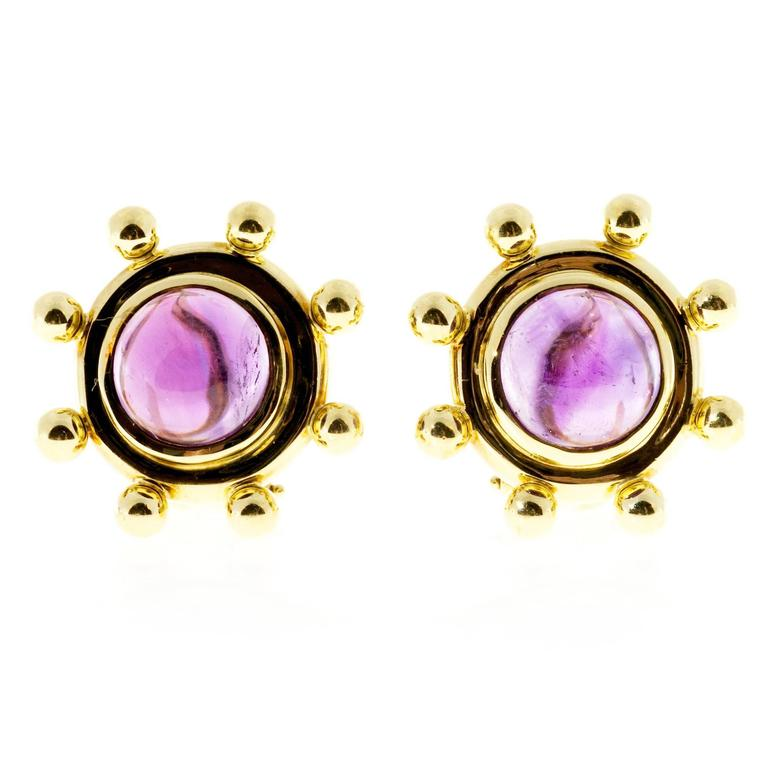 Tiffany & Co. Paloma Picasso Cabochon Amethyst Gold Earrings
