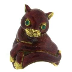 Whimsical Large David Webb Red Enamel Emerald Gold Cat Ring