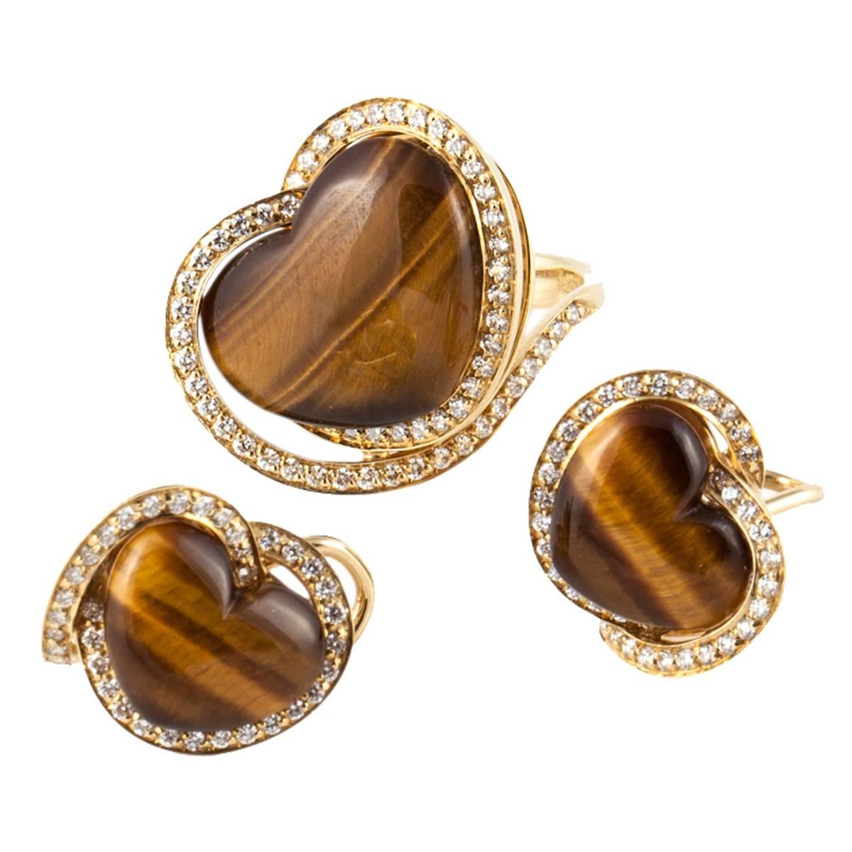 Roberto Coin 18K Yellow Gold Tiger's Eye Gold Ring and Earrings Set