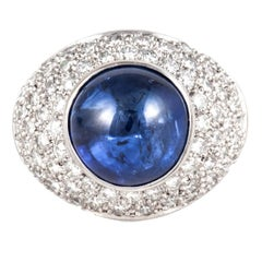 Boodles 18K White Gold Cabochon Sapphire and Diamond Ring
