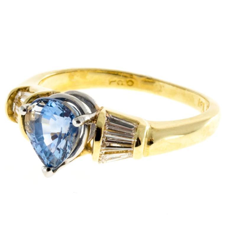 Pear Shaped Sapphire Baguette Diamond Platinum Gold Ring