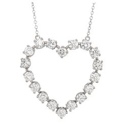 Tiffany & Co. Elsa Peretti Diamond Platinum Heart Pendant