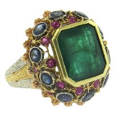 Gorgeous Buccellati Emerald Ruby Sapphire Gold Ring