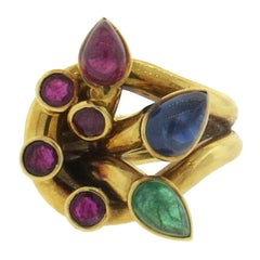 David Webb Emerald Ruby Sapphire Gold Ring