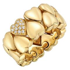 Cartier Diamond Gold Double Hearts Band Ring