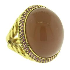 David Yurman Peach Moonstone Cabochon Pink Sapphire Gold Ring