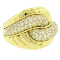 Henry Dunay Diamond Hammered Gold Dome Ring