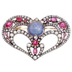Antique Sapphire Diamond Spinel Silver Gold Heart Brooch