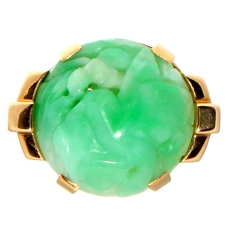 French Carved Jade Gold Ring at 1stdibs