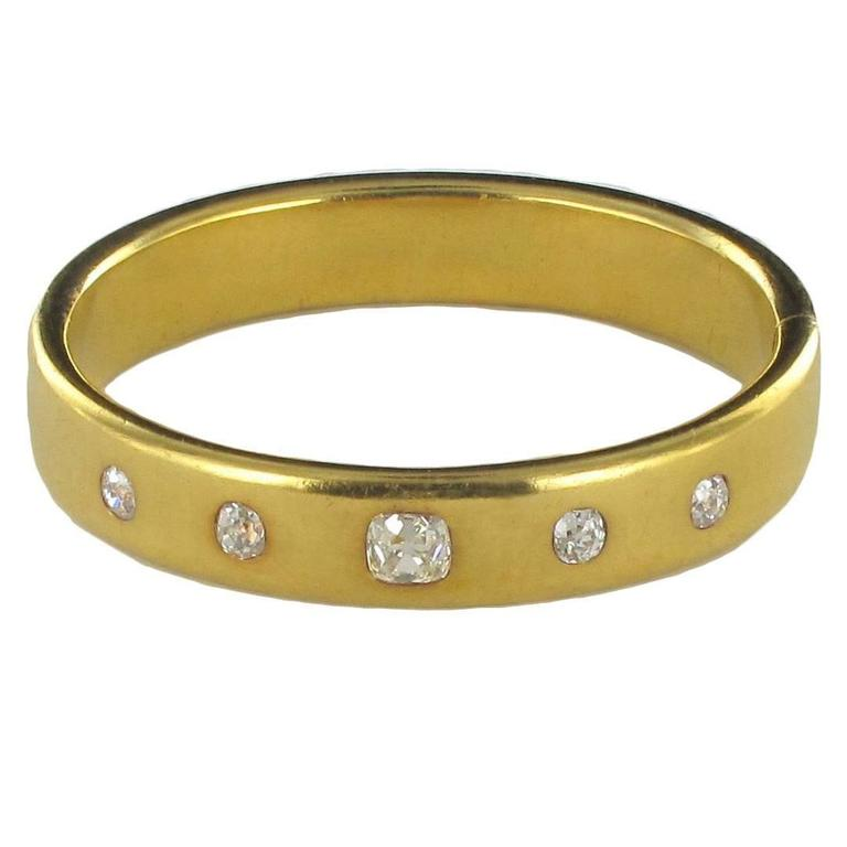 French Antique Diamond Gold Bangle Bracelet