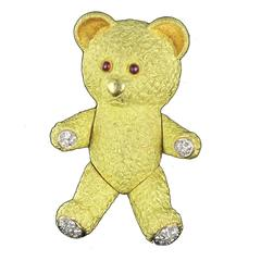 Adorable French Diamond Gold Bear Brooch