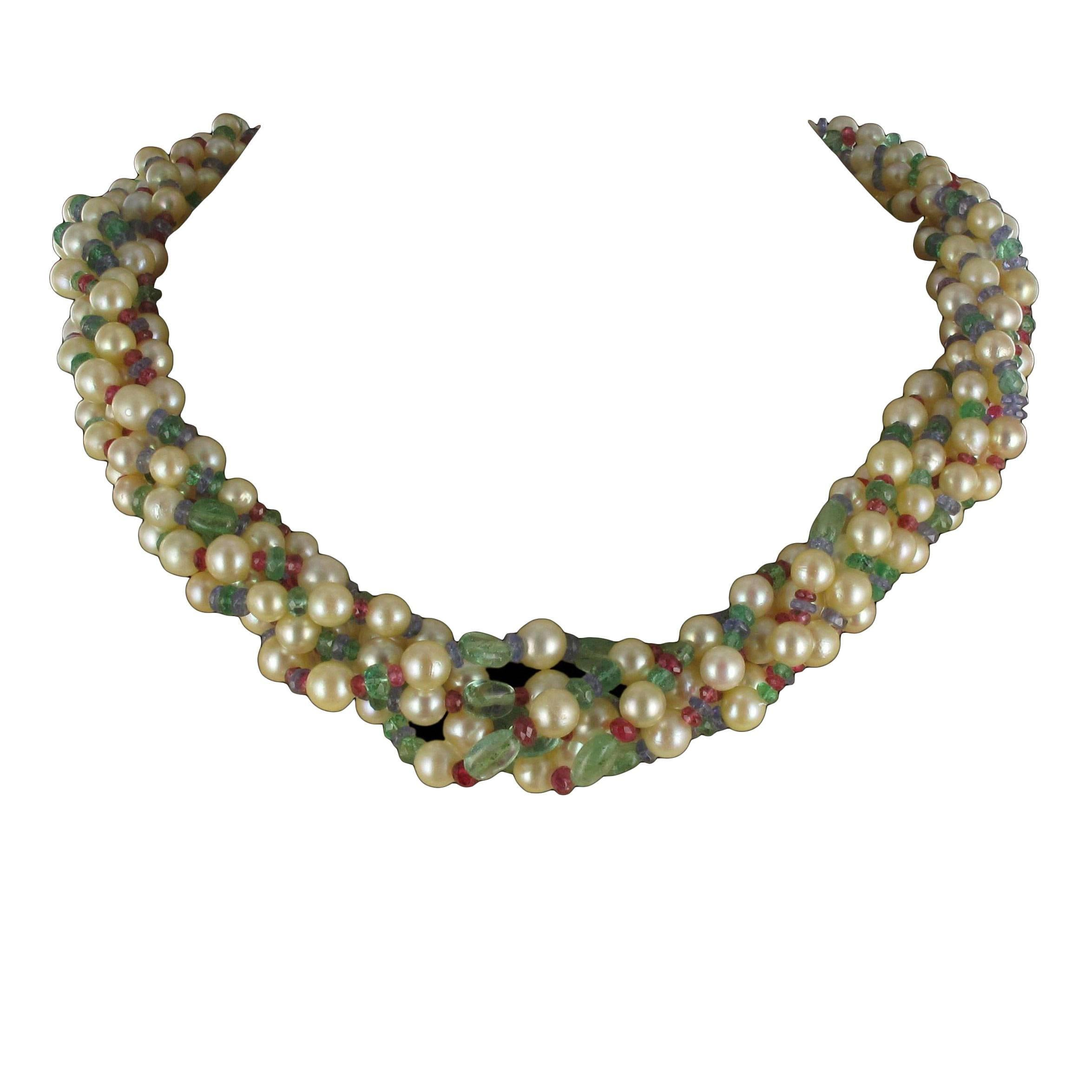 French Pearl Emerald Sapphire Ruby Spinel Gold Torsade Necklace