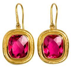 Colleen B. Rosenblat Rubellite Gold Earrings