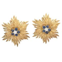 Tiffany & Co. Sapphire Diamond Gold Foliate Earclips