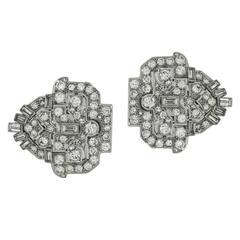 1930s Art Deco Diamond Platinum Brooch Clip